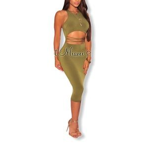 Olive Green Cutout Strappy Tank Dress M